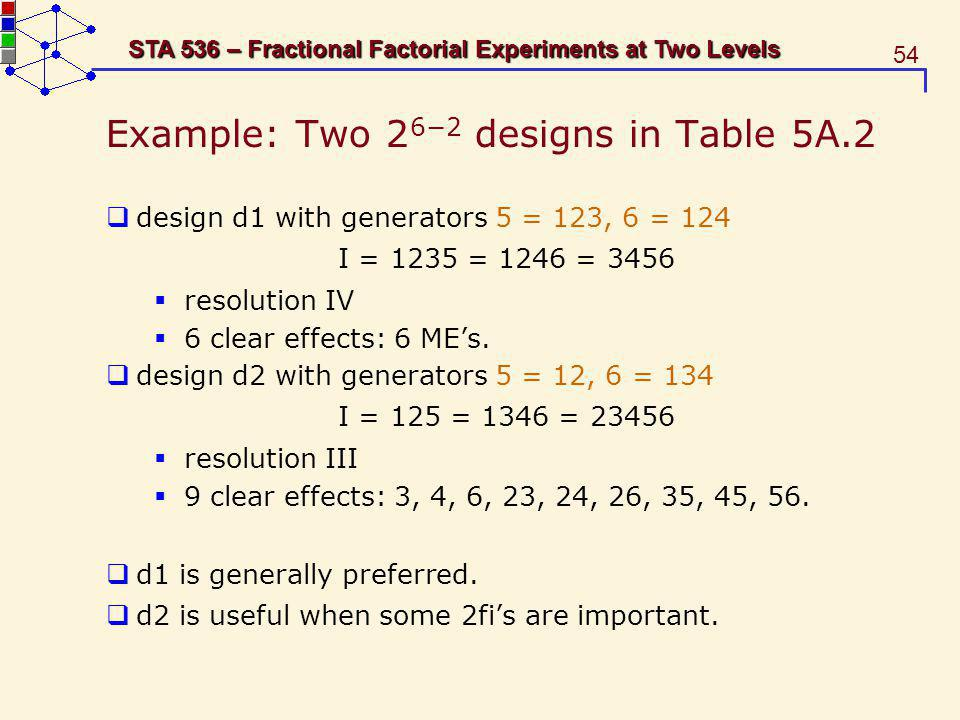 Example: Two 26−2 designs in Table 5A.2