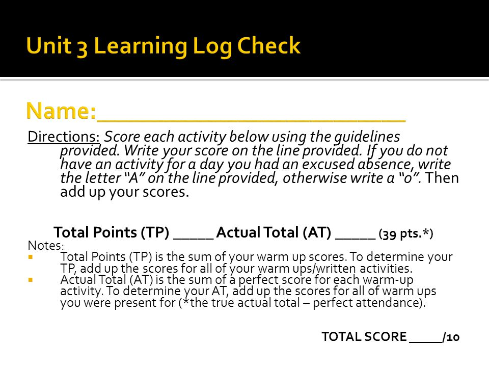 Unit 3 Learning Log Check