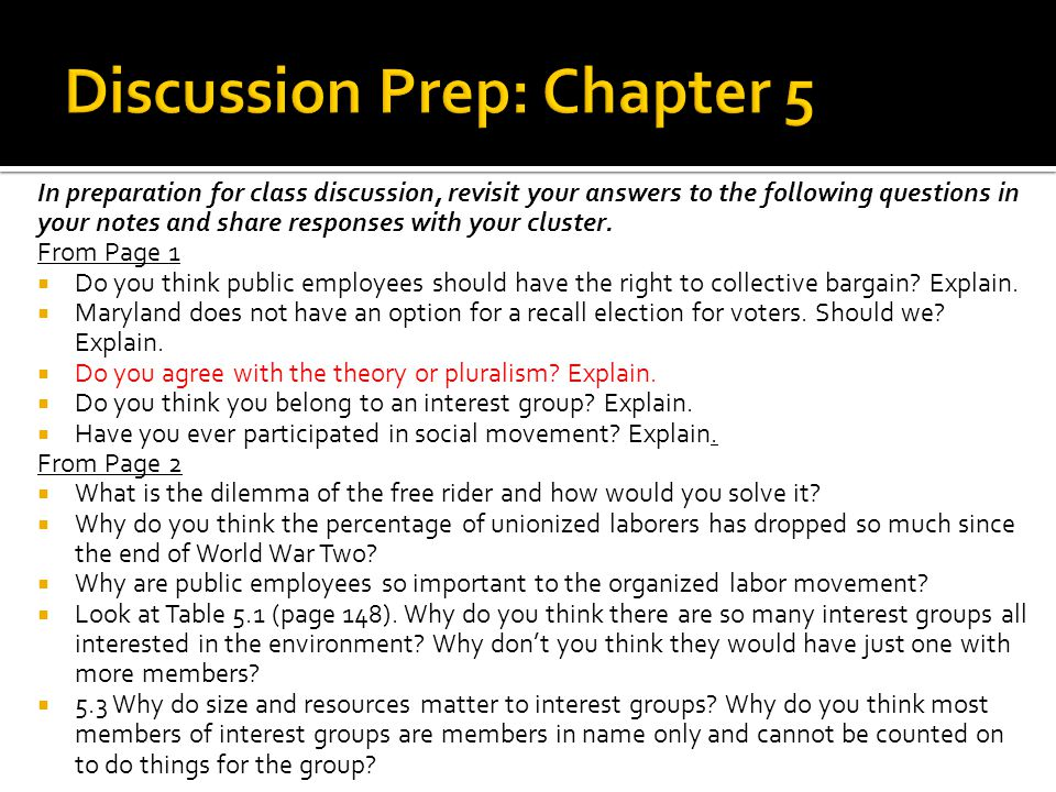 Discussion Prep: Chapter 5