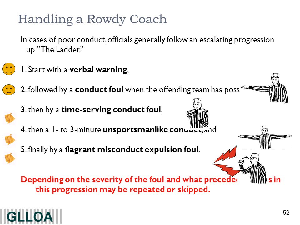 Handling a Rowdy Coach In cases of poor conduct, officials generally follow an escalating progression up The Ladder.