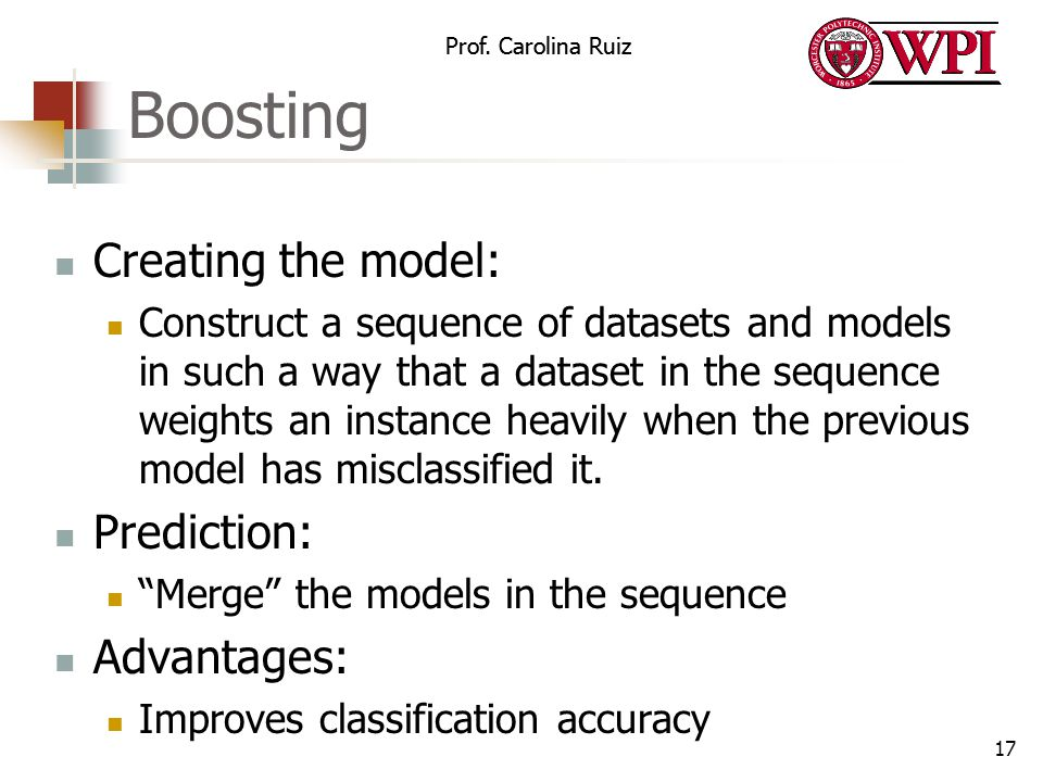 Boosting Creating the model: Prediction: Advantages: