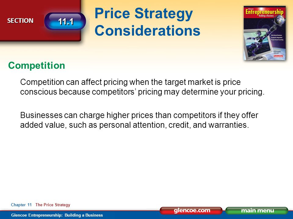 Competition Competition can affect pricing when the target market is price conscious because competitors' pricing may determine your pricing.