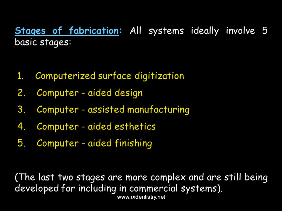 Stages of fabrication: All systems ideally involve 5 basic stages: