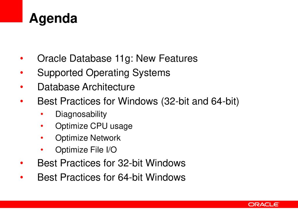Oracle Database on Windows: Best Practices and Future