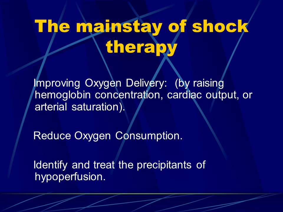 The mainstay of shock therapy