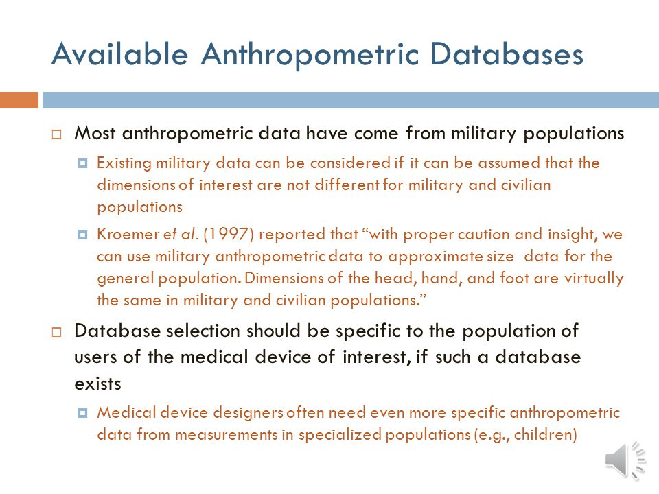 Available Anthropometric Databases