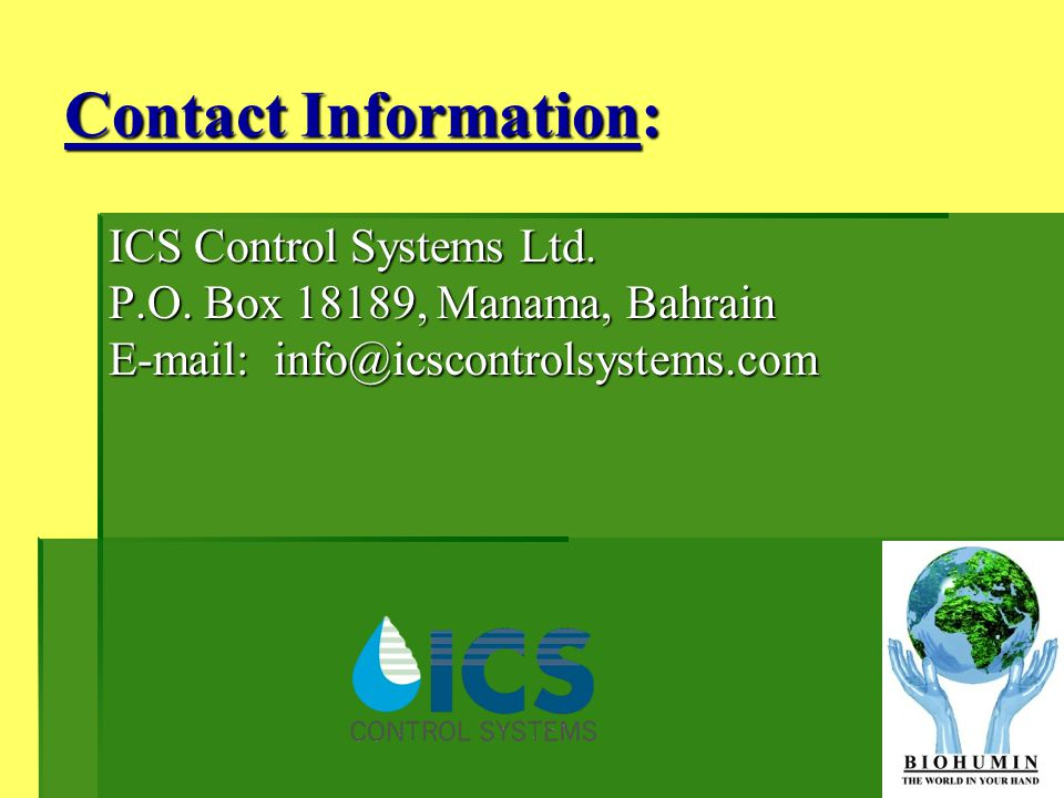 Contact Information: ICS Control Systems Ltd. P.O.