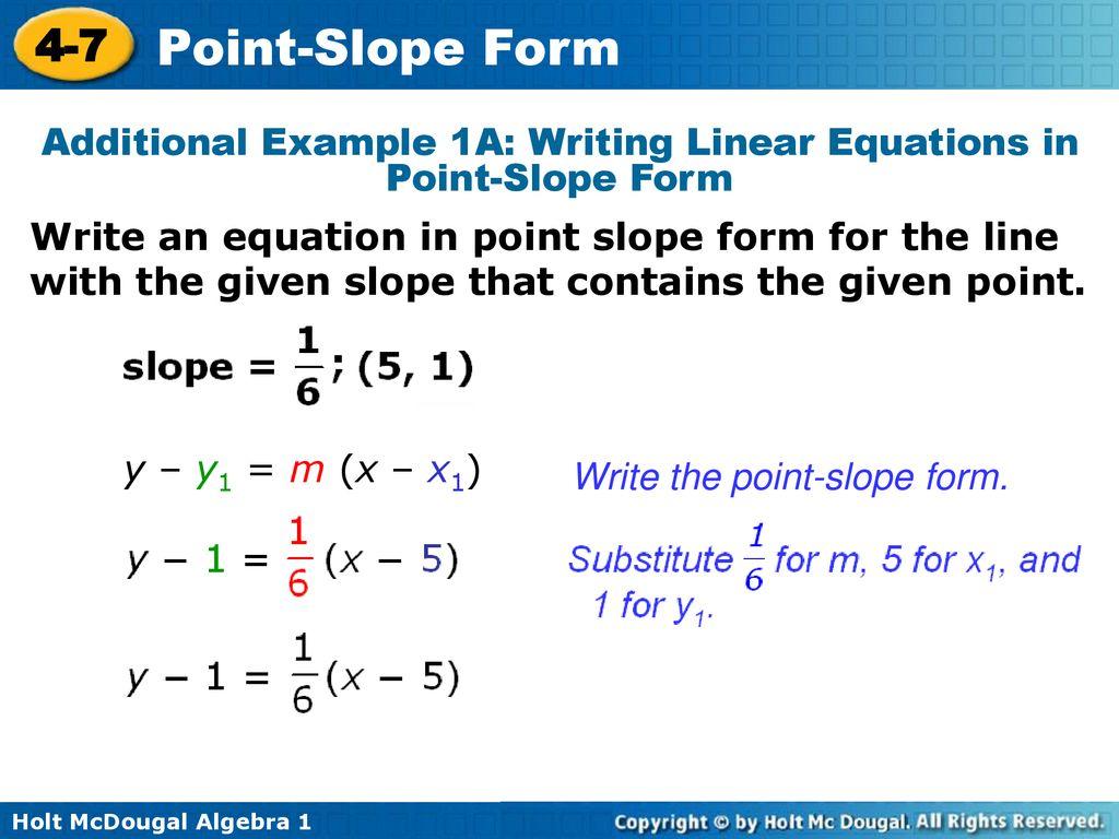 point slope form lesson  Point-Slope Form 7-7 Warm Up Lesson Presentation Lesson Quiz ...