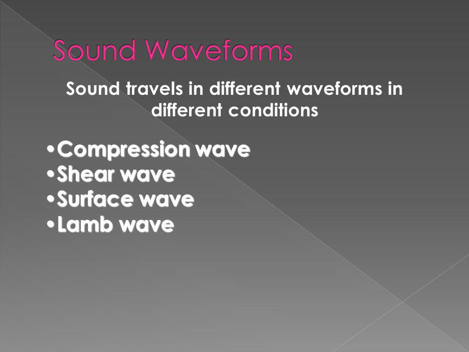 Sound travels in different waveforms in different conditions