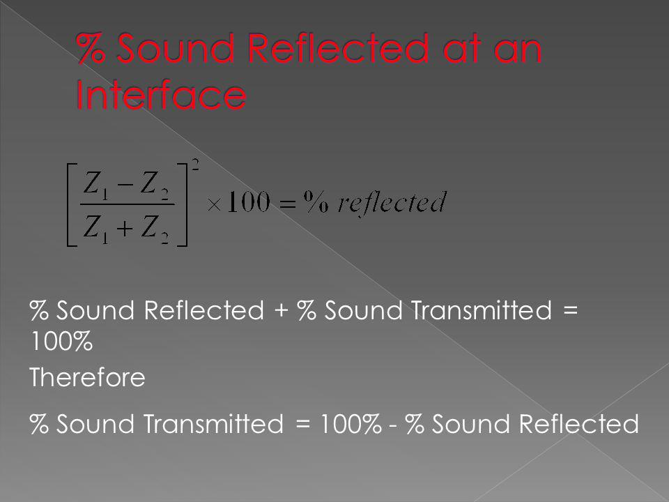 % Sound Reflected at an Interface