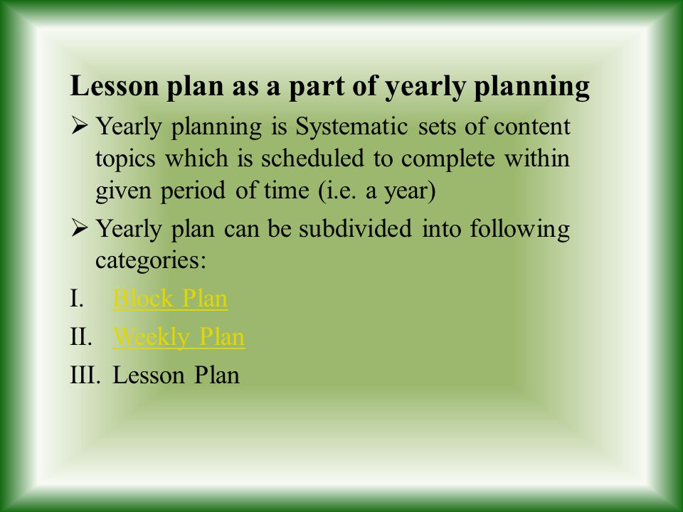 Lesson plan as a part of yearly planning
