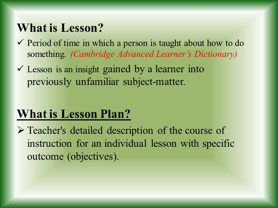 What is Lesson What is Lesson Plan