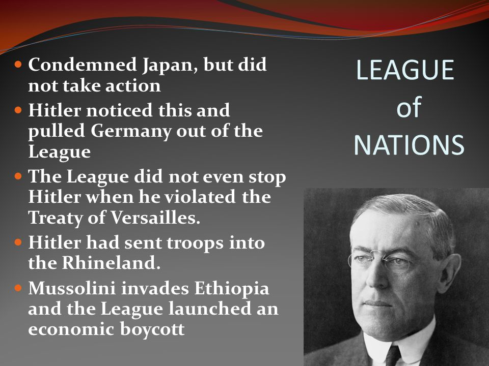 LEAGUE of NATIONS Condemned Japan, but did not take action