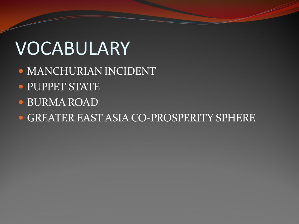 VOCABULARY MANCHURIAN INCIDENT PUPPET STATE BURMA ROAD