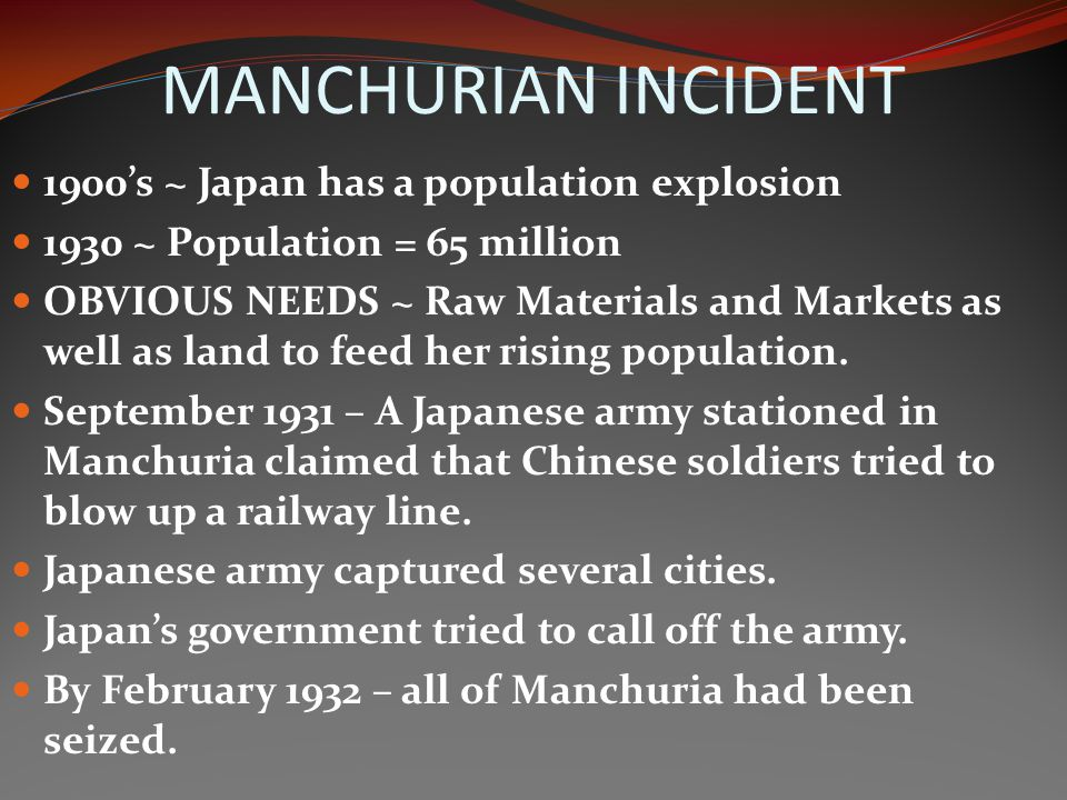 MANCHURIAN INCIDENT 1900's ~ Japan has a population explosion