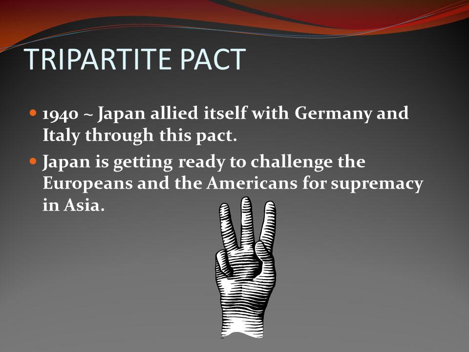 TRIPARTITE PACT 1940 ~ Japan allied itself with Germany and Italy through this pact.