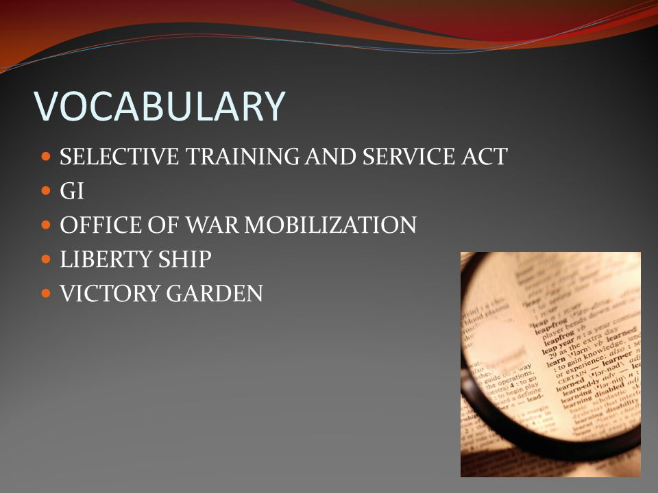 VOCABULARY SELECTIVE TRAINING AND SERVICE ACT GI