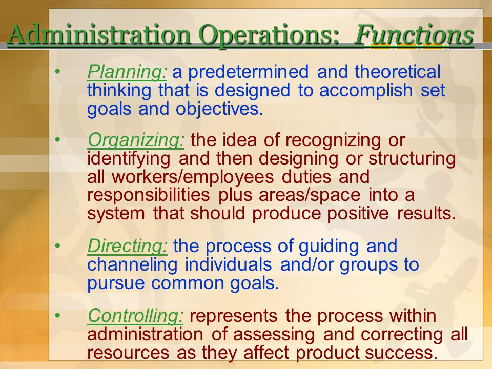 Administration Operations: Functions