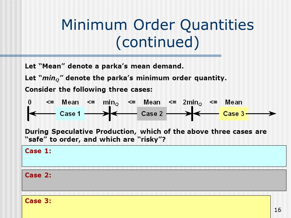 Minimum Order Quantities (continued)