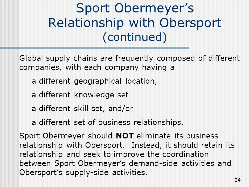 Sport Obermeyer's Relationship with Obersport (continued)