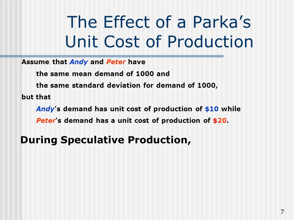 The Effect of a Parka's Unit Cost of Production