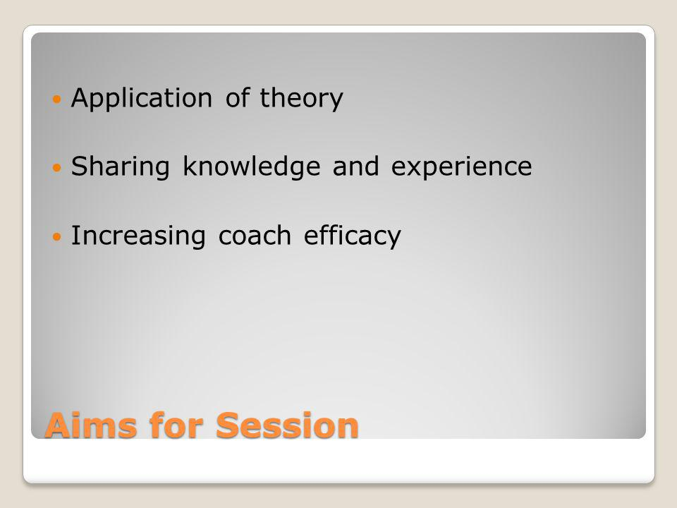 Aims for Session Application of theory