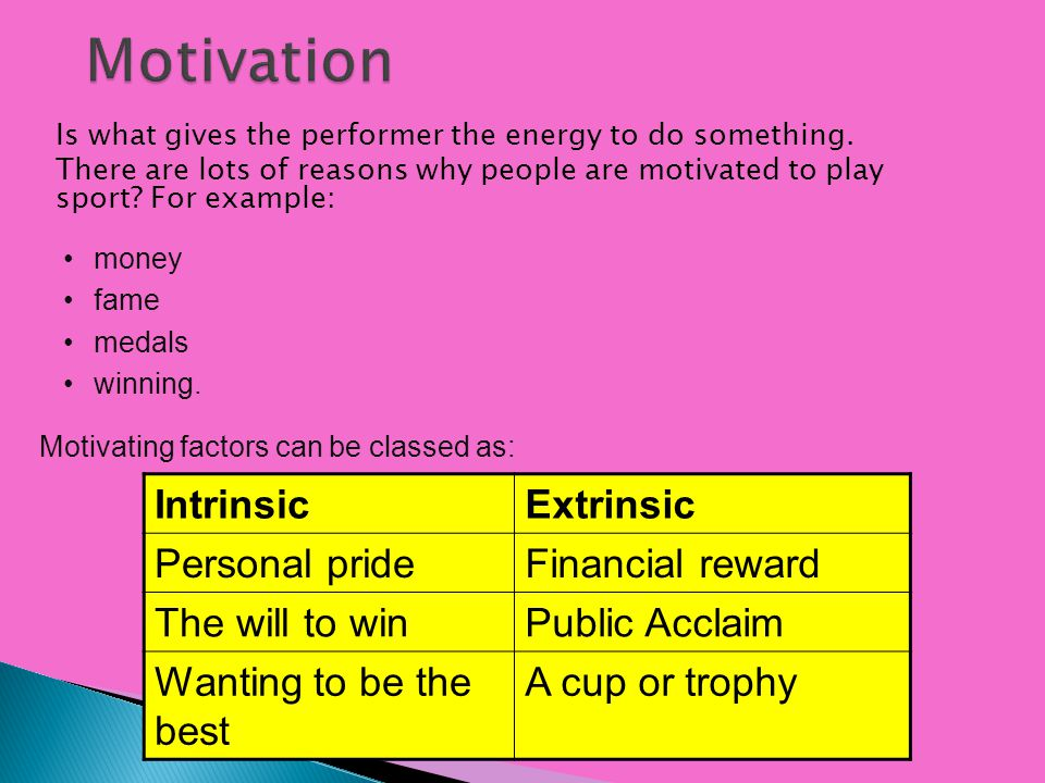 Motivation Intrinsic Extrinsic Personal pride Financial reward