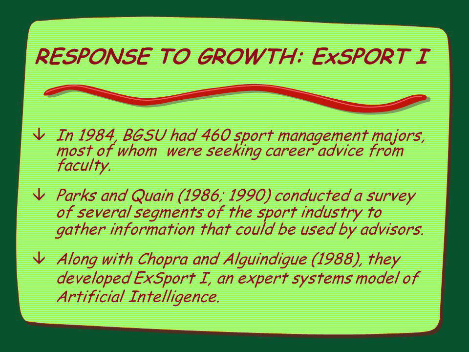 RESPONSE TO GROWTH: ExSPORT I