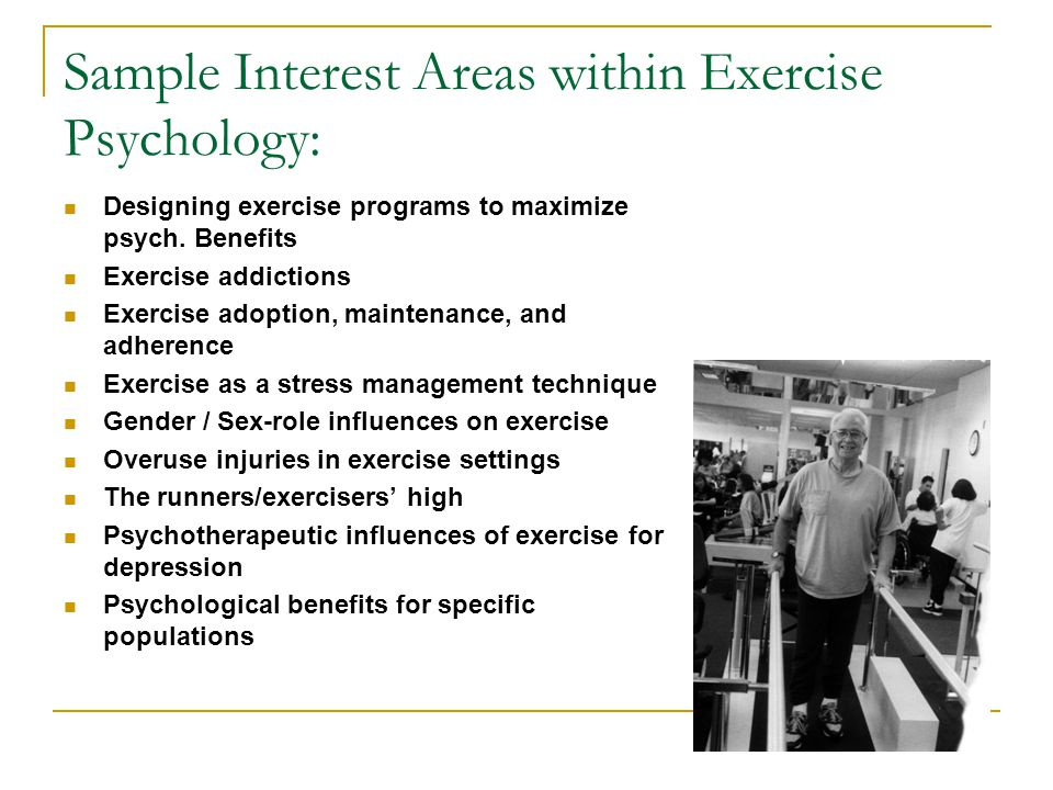 Sample Interest Areas within Exercise Psychology: