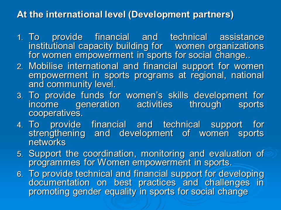 At the international level (Development partners)