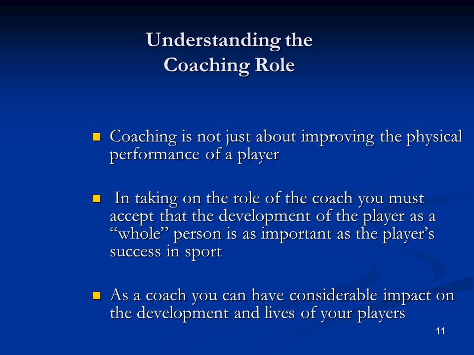 Understanding the Coaching Role