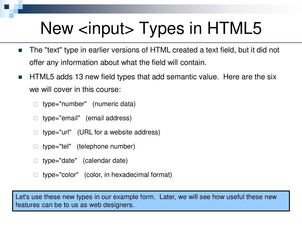 New Form Input Types  - ppt download