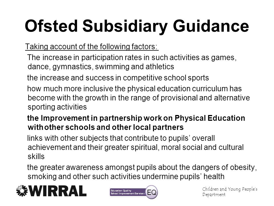 Ofsted Subsidiary Guidance