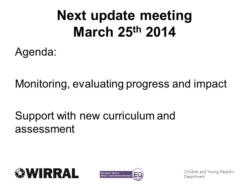 Next update meeting March 25th 2014