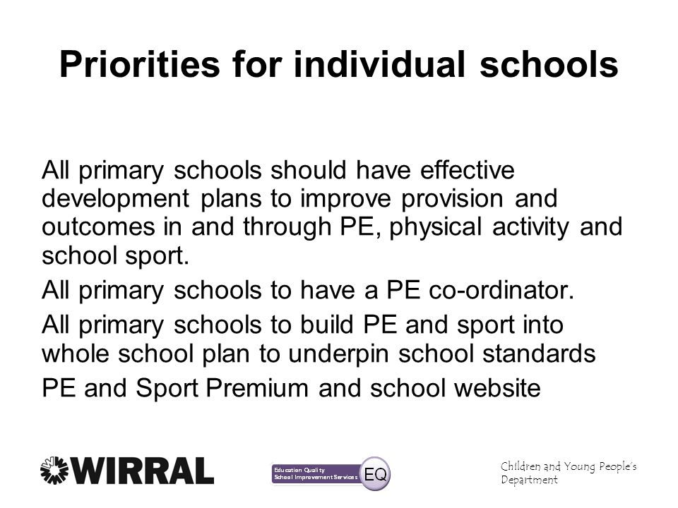 Priorities for individual schools
