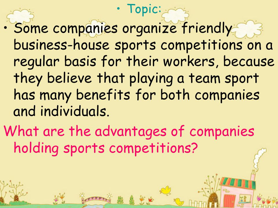 What are the advantages of companies holding sports competitions