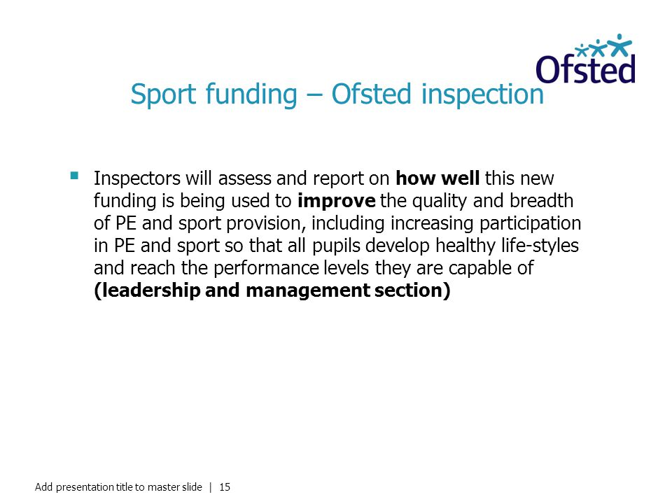 Sport funding – Ofsted inspection