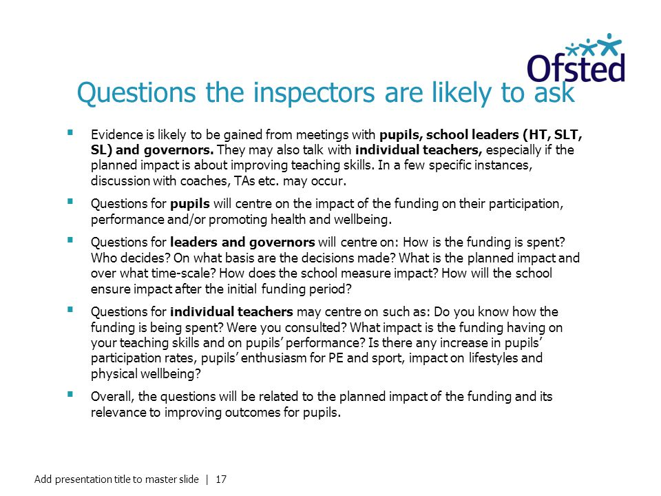 Questions the inspectors are likely to ask