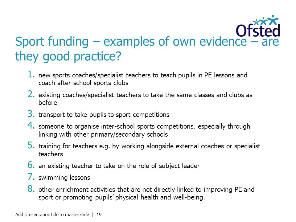 Sport funding – examples of own evidence – are they good practice