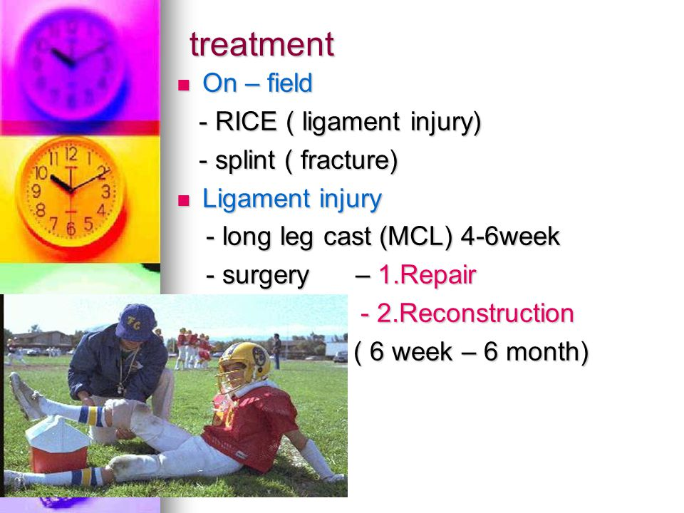 treatment On – field - RICE ( ligament injury) - splint ( fracture)