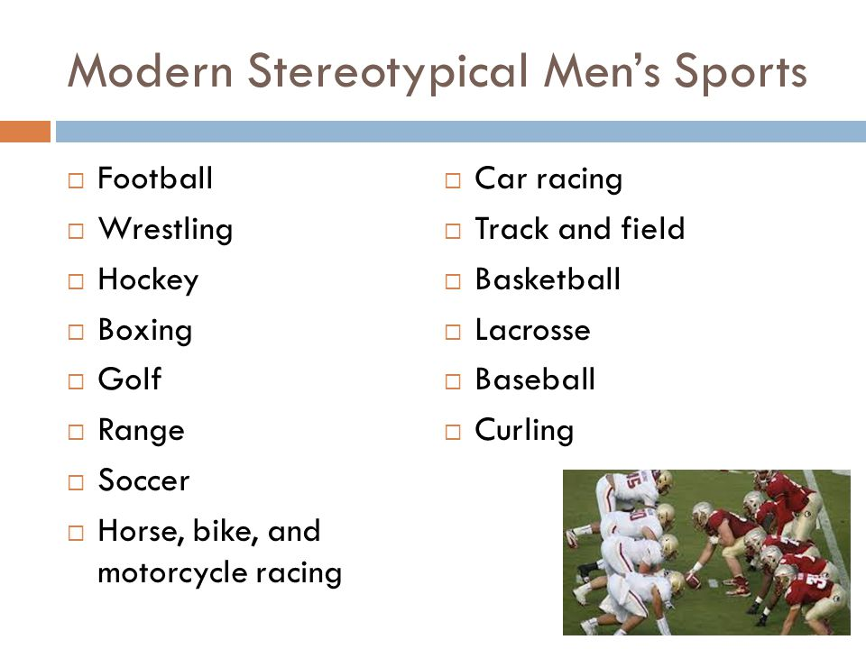 Modern Stereotypical Men's Sports