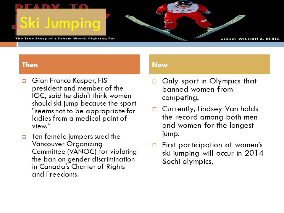 Ski Jumping Only sport in Olympics that banned women from competing.