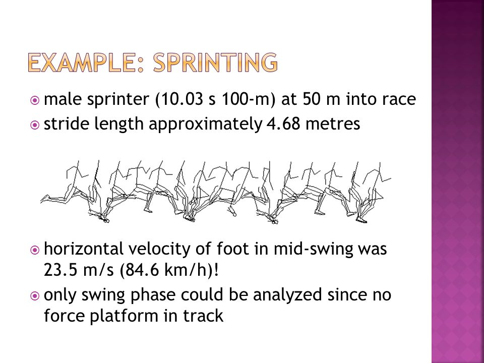 example: sprinting male sprinter (10.03 s 100-m) at 50 m into race