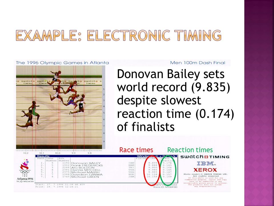 Example: Electronic timing