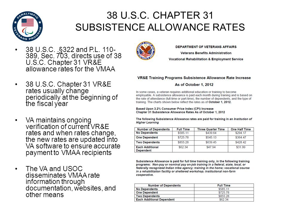 38 U.S.C. Chapter 31 subsistence allowance rates