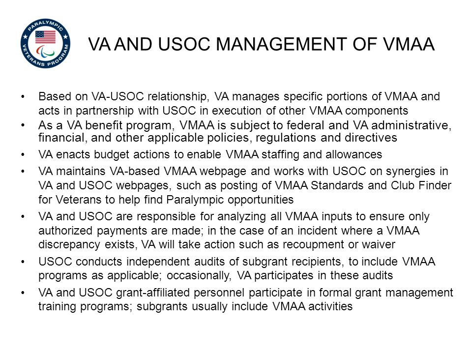 VA and USOC Management of vmaa