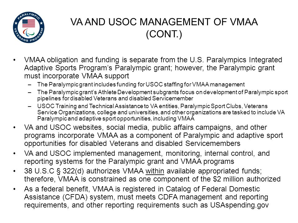 VA and USOC management of VMAA (Cont.)