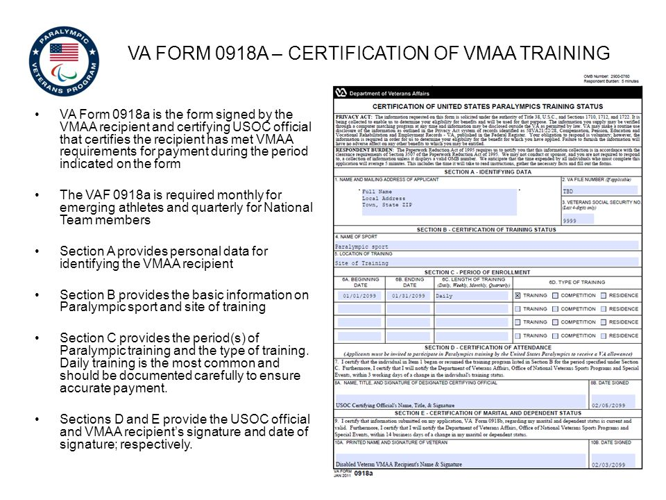 VA Form 0918a – certification of vmaa training