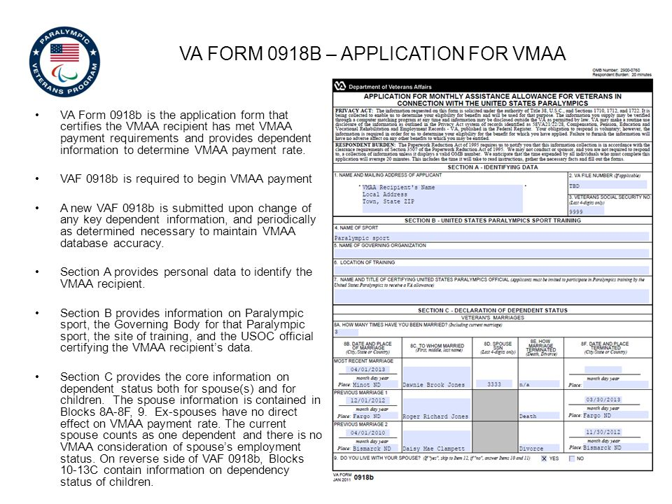 VA Form 0918b – application for vmaa