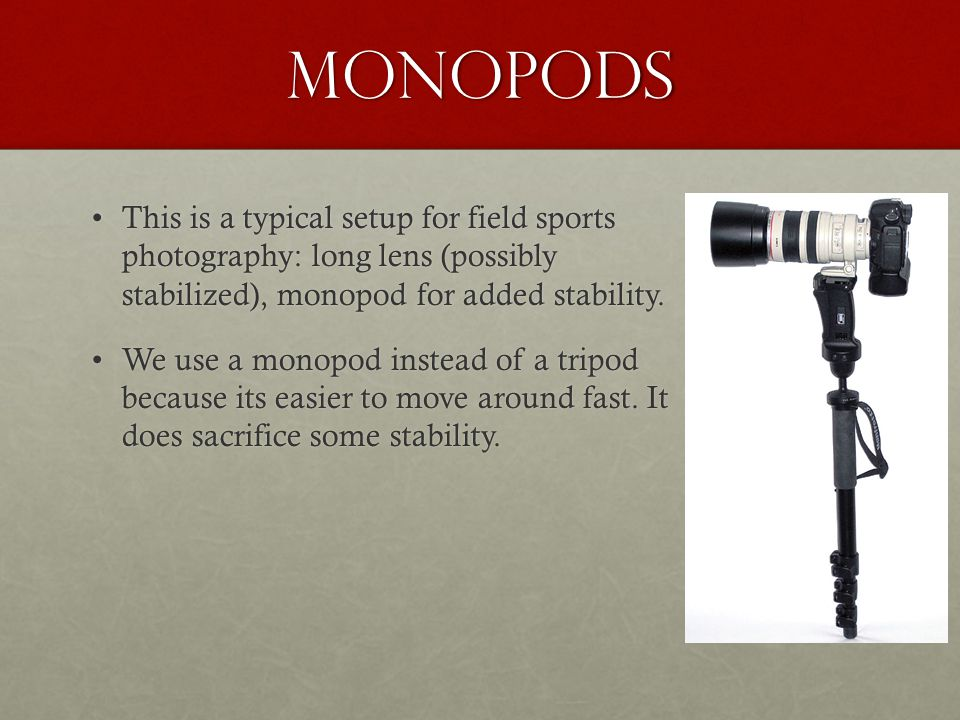 Monopods This is a typical setup for field sports photography: long lens (possibly stabilized), monopod for added stability.